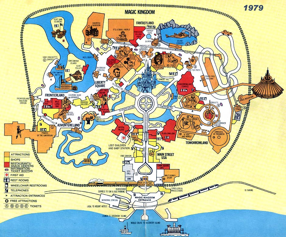 Theme park maps over the years gdf s2 2011 by the end of the 70s a more realistic map with smaller more regular sized graphics the use of colour coding certain shopsattractions has begun sciox Gallery